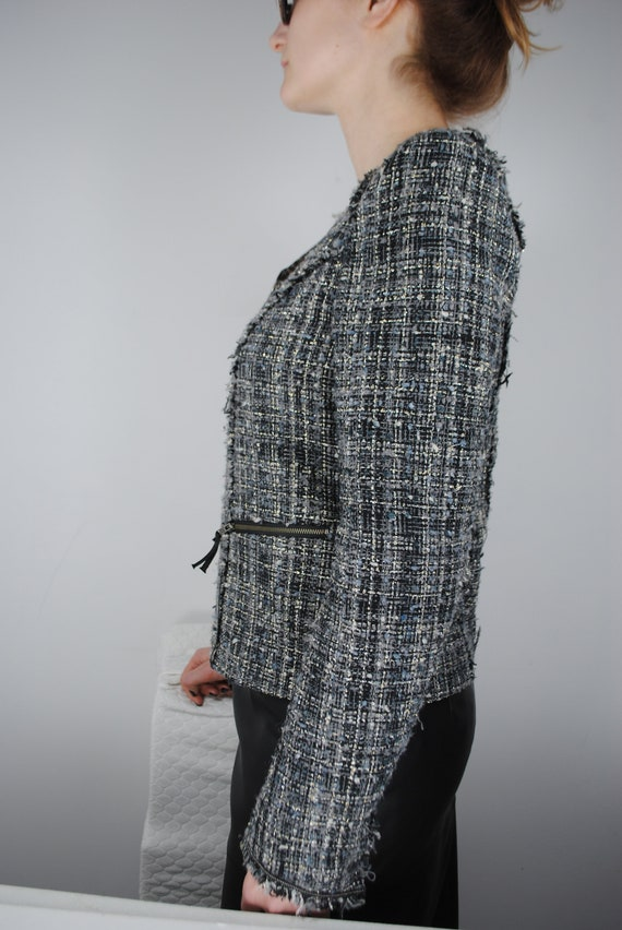 90s Chanel Inspired Gray Tweed Jacket, Vintage Co… - image 6
