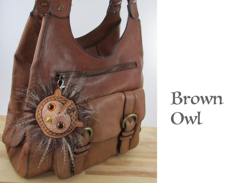 Owl Bag Charm Snowy Owl Keyring Brown Owl Keyring Gift Machine Embroidered Faux Leather Handmade Owl Keyring Stocking Filler