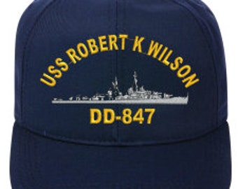 USS Henry B Wilson DDG-7 Baseball Cap Navy Blue Made in USA