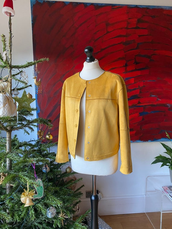 ZARA yellow mustard faux suede leather biker jacke