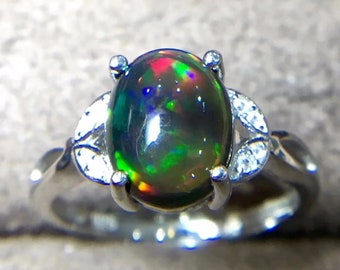925 Sterling Silver opal ring Engagement Opal ring Anniversary ring,opal Jewelry,Fire opal ring,gift for women Opal ring