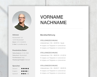 """Application template German with CV template for Word and Pages, cover page, cover letter, CV, attachments, application """"Silver"""" Active"""