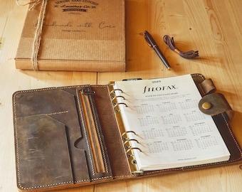 Leather Agenda 2021, Leather Filofax cover, Refillable Leather Agenda, Mens Gift, Mens Christmas gift, Gift ideas for men, Boyfriend gift