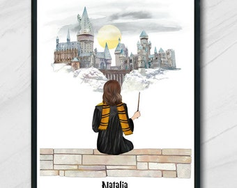 Personalised Wizard School Friends or Family Portrait / Potter Family Gift custom Photo Digital Wizard Gift