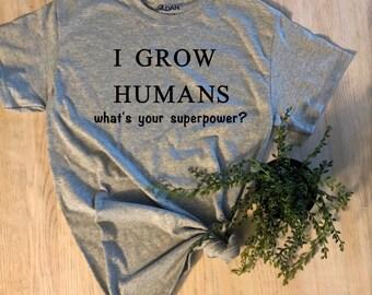 Human Growing Vneck Tshirt Vneck Pregnancy Shirt New Mom Shirt Human Growing