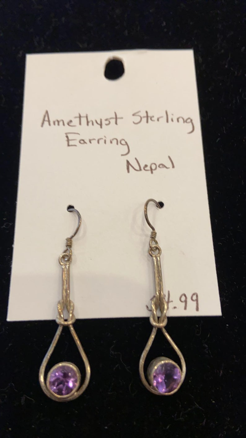 Fair Trade from Nepal Sterling Silver Drop Wire Earrings with Semi-Precious Stones