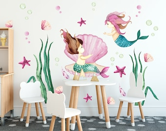 Nursery wall decal  Sea World Watercolour Little Mermaid from ECO TEXTILE reuseable self adhesive Wall sticker for kids room, Mural for room