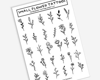 Small Flower Tattoo Etsy Small tattoos are more difficult to draw than larger ones. small flower tattoo etsy