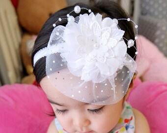 Baptism Headpiece Newborn Infant Photo Prop Christening Headbow Birthday Hair Band Toddler Flower Headband Baby Girl Baby Shower Gift