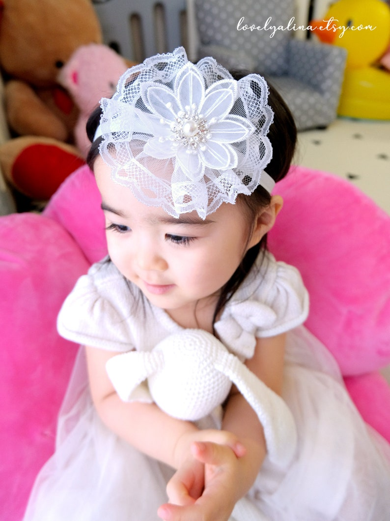 Toddler Hair Band Infant Baptism Baby Head Piece Organza Floral Tulle Lace Girls Fascinator Headband Children First Birthday Head Bands