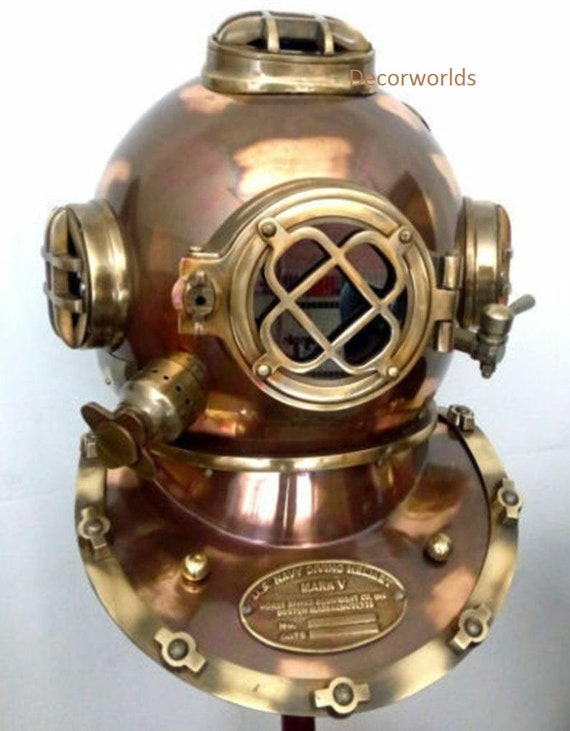 Boston 18 Inch Diving Helmet Deep US Navy Mark V Vintage Antique Divers Helmet