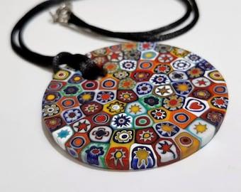 Glass pendant by Murano Murrina millefiori diameter cm. 5