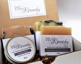 Hair Care Set + soap, Handcrafted Soaps, Shampoo Bar and Solid Conditioner, Self care gift set, all natural soap, NO artificial ingredients