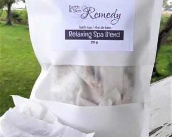 Soothing Tub Tea Bag, Relaxing Spa Blend, Bath Salts, Bath Soak, Healing Soak Tea bags, Nourishing Skin Tea, Chemical free, Fragrance free