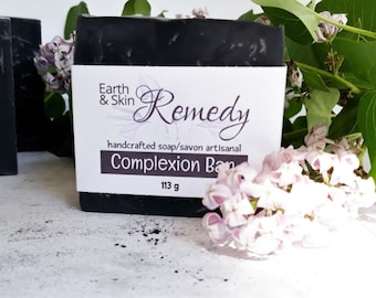 Oily and acne prone skin, Complexion Bar Soap, handcrafted soap , tea tree and activated charcoal,  NO artificial ingredients, face cleanser