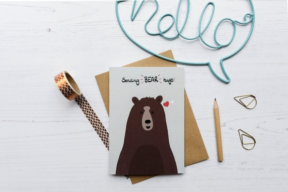 Sending Bear Hugs Greeting Card - Paper Hugs - Miss you Card - Grizzly Brown Bear - Thinking Of You - Sending Love - Father's Day Card