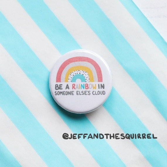 Rainbow Button Badges 25mm - Pocket Hug - Positivity Bridesmaids Badge - Kindness Positive Quote - Keepsake and Gift - Mental Health
