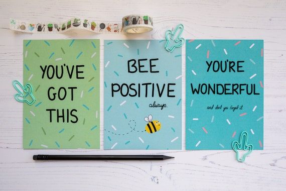 3x Positive Postcards & Notecards - Miss You Cards - Thinking of You - Motivational Cards - Office Decor - Sending Hugs - Recycled A6