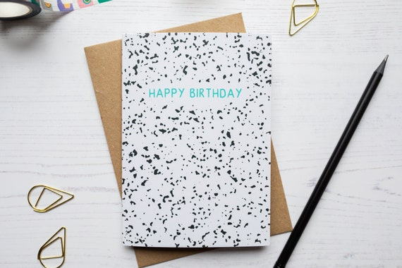 Happy Birthday Terrazzo Greeting Card - Black and White Card - Terrazzo Print Card - Animal Print Card  - Recycled A6 Greeting Card