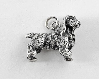 20 3D Puppy Dog Charms Silver Metal Spaniel Lab Mutt Head Face Animal Pendants
