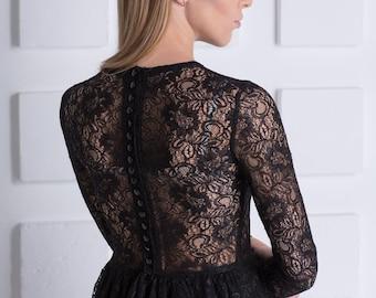 Luxury Black dress long midi from italian lace