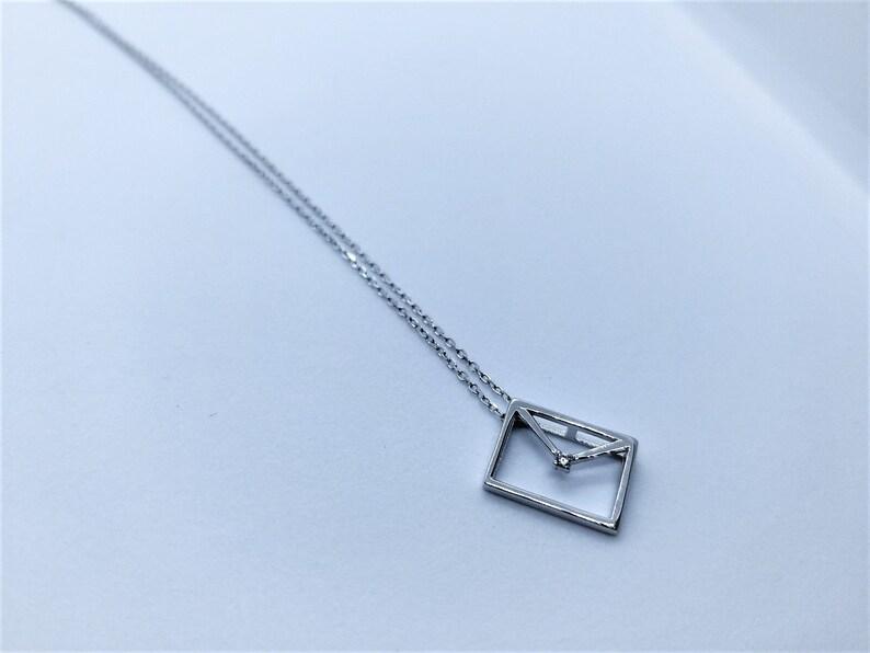 925 Silver Envelope Pendant Necklace Silver Envelope Necklace