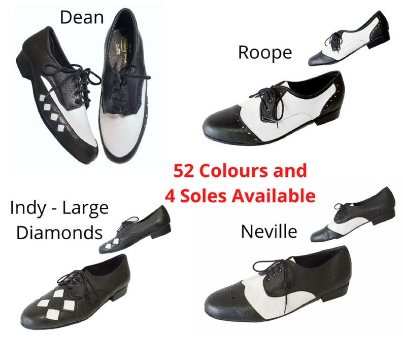 1950s Men's Shoes | Boots, Greaser, Rockabilly Mens Black and White all leather 50s style Swing Rockabilly Rock and Roll Dance Shoes Choice of Soles 52 colours available. $146.36 AT vintagedancer.com