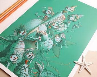 Illustration - Mermaids - Poster, Print A4 format