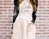 Custom Aprons for Womens Aprons Ruffled with Pockets Hostess Gift Ideas Personalized Apron Pink Aprons Personalized  (EB3353CT) photo