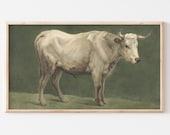 Samsung Frame TV File Vintage Cow Oil Painting Antique Farmhouse Art White Green TV Art File 106