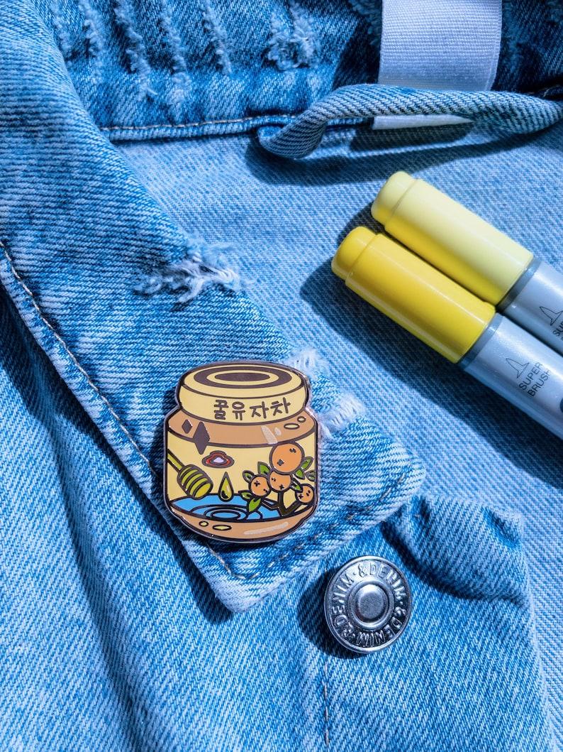 Honey Citron Tea  Stamina Enamel Pin Enamel pin collection kawaii anime food korean food