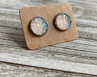 Wooden stud earrings red-blue wooden studs 10 mm 925 silver