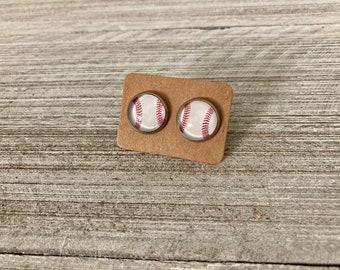 Handmade Baseball Stud Earrings 12mm Baseball Earrings Baseball Studs