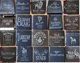 Laser Engraved Bourbon Whiskey Cigar Natural Slate Coasters