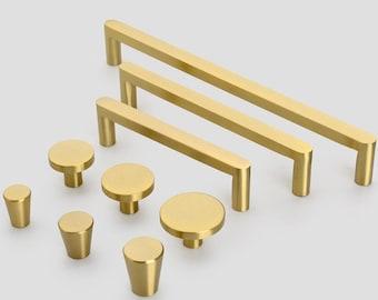 Modern Solid Brass Kitchen Cabinet Drawer Knobs And Handles Gold Furniture Dresser Cupboard Wardrobe Door Pulls and Handles