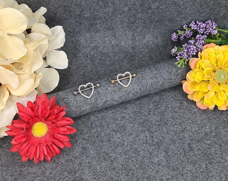 Heart Shape Steel Nipple Piercing-SilverRose Gold with Zircon Gemstones