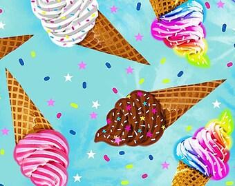 """Timeless Treasures Ice Cream Cones Food 100% Cotton 44/45"""" fun-c7407_blue"""