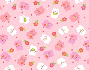 """Timeless Treasures Japanese Lucky Cats Pink 100% Cotton 44/45"""" CAT-C7754 PINK"""