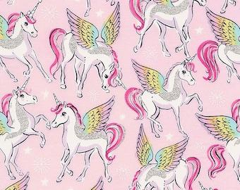 "Timeless Treasures Unicorns with Glitter Wings KIDZ-CM7443 PINK  100% Cotton 44/45"""