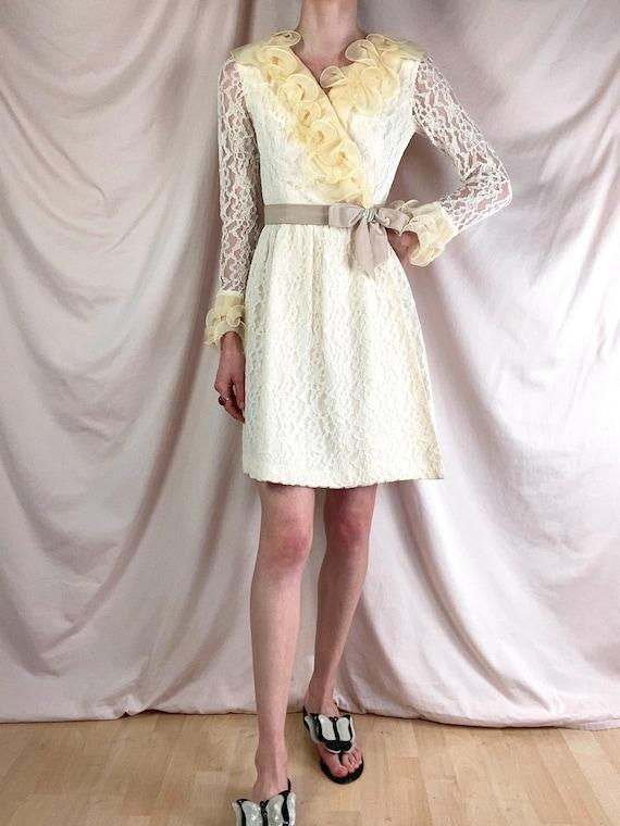 Vintage 1960's Lace and Ruffles Mini Dress / Wrap Dress / Cream Ivory Butter Yellow / xs s