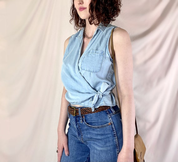 Vintage 90's Chambray Denim Wrap Top / Light Wash