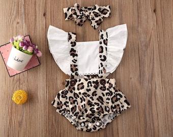 Mint Cow /& Leopard Print Ruffle Romper 3m-18m