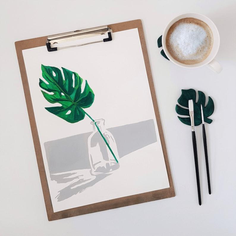 Paint by numbers  Painting Kit  Monstera Leaf  Minimalistic image 0