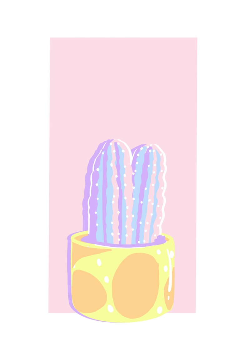 Paint by number kit  Potted Cactus 1  Happy Pastel Plants image 0