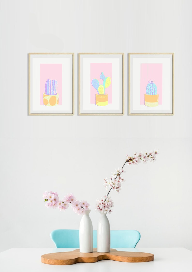 Paint by number kit  The Cacti Set  Happy Pastel Plants  Art Kit