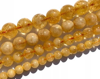 """6mm-10mm Natural Champagne Imperial Topaz Citrine Round Gems Loose Beads 15/"""" 5A"""