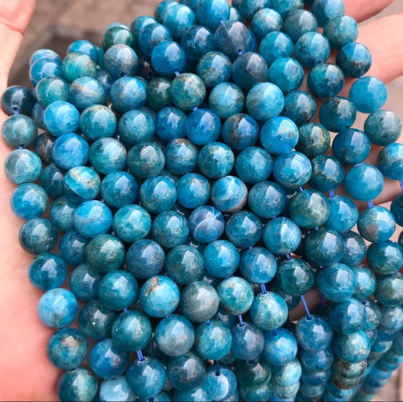 Smooth Gemstone Beads Jewelry Making Bracelet Necklace Beads Natural Apatite Gemstone Beads Needle Work Grade AAA+ 4681012mm