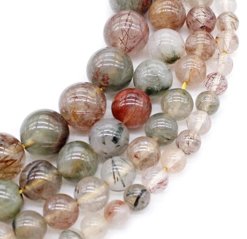 Natural Superior Quality Rutilated Quartz Gemstone Beads Needle Work Grade AAA+ 4681012mm Jewelry Making gemstone Beads