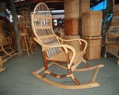 Vintage bentwood wicker rattan rocking chair Holds up to 300 lbs rocker, ornate wood adult farmhous Chair, inside outside use