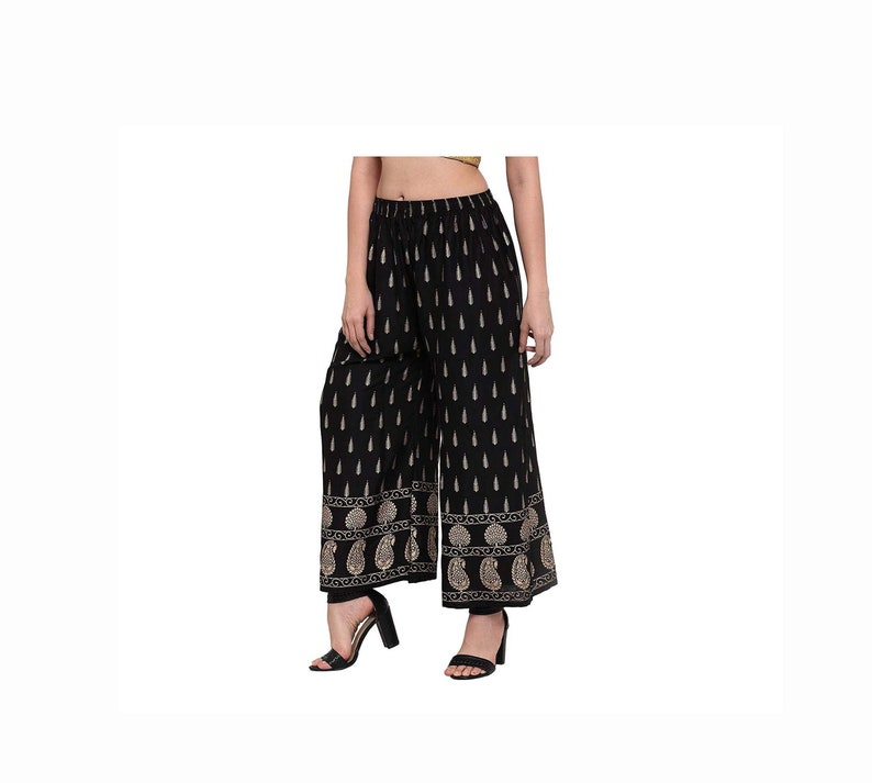 Indian Rayon Pants,Trousers Palazzo,Loose Pants Summer palazzo yoga  pants Woman Hippie Yoga pants Baggy Hand block Print Trousers